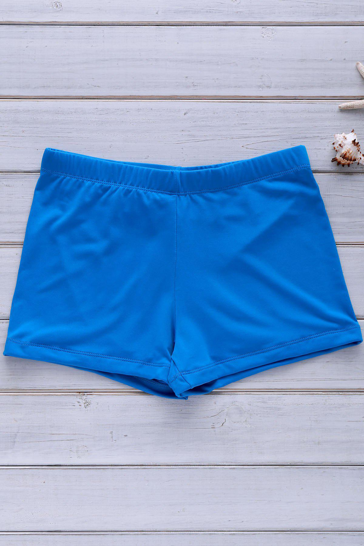 Men's Solid Color Elastic Swimming Trunks - BLUE 2XL