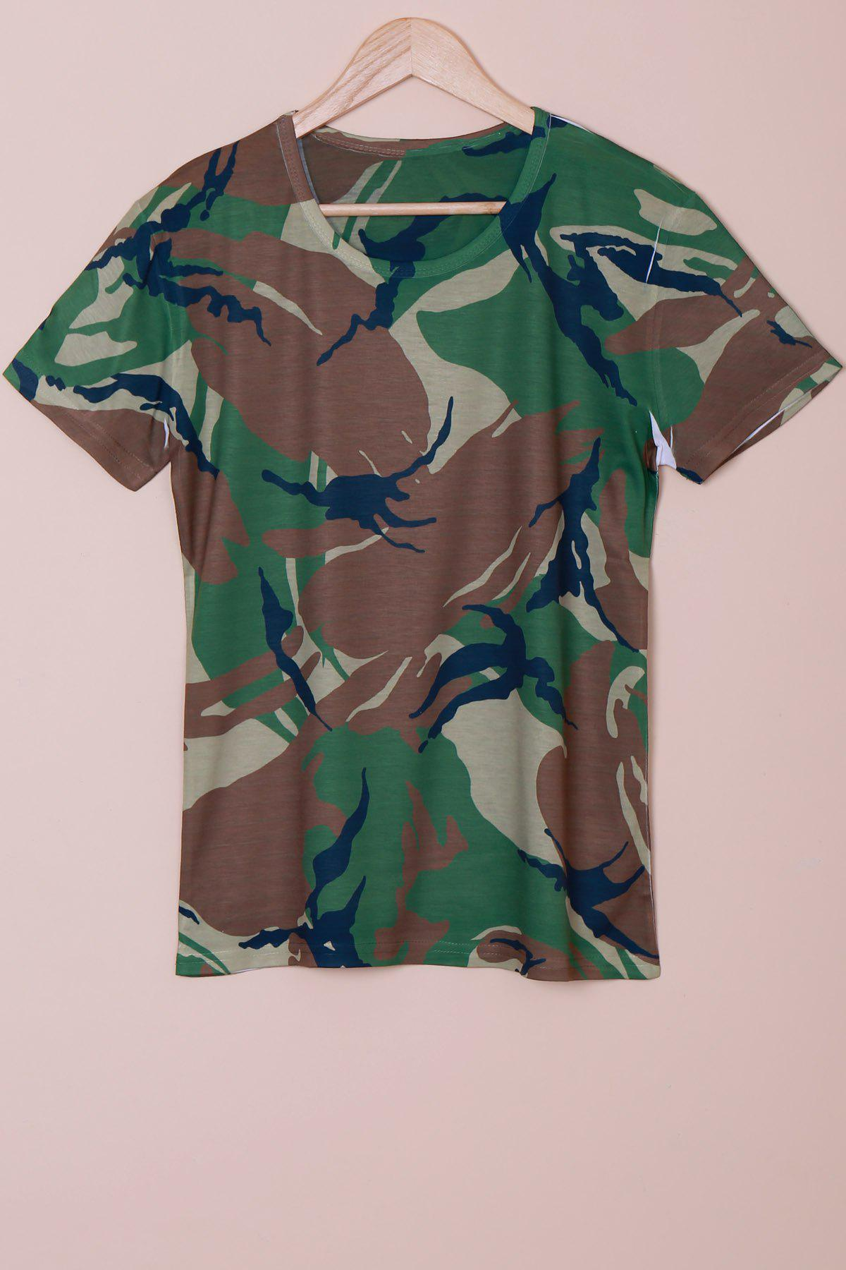 Slimming Camo Printing Pullover T-Shirt For Men - CAMOUFLAGE L