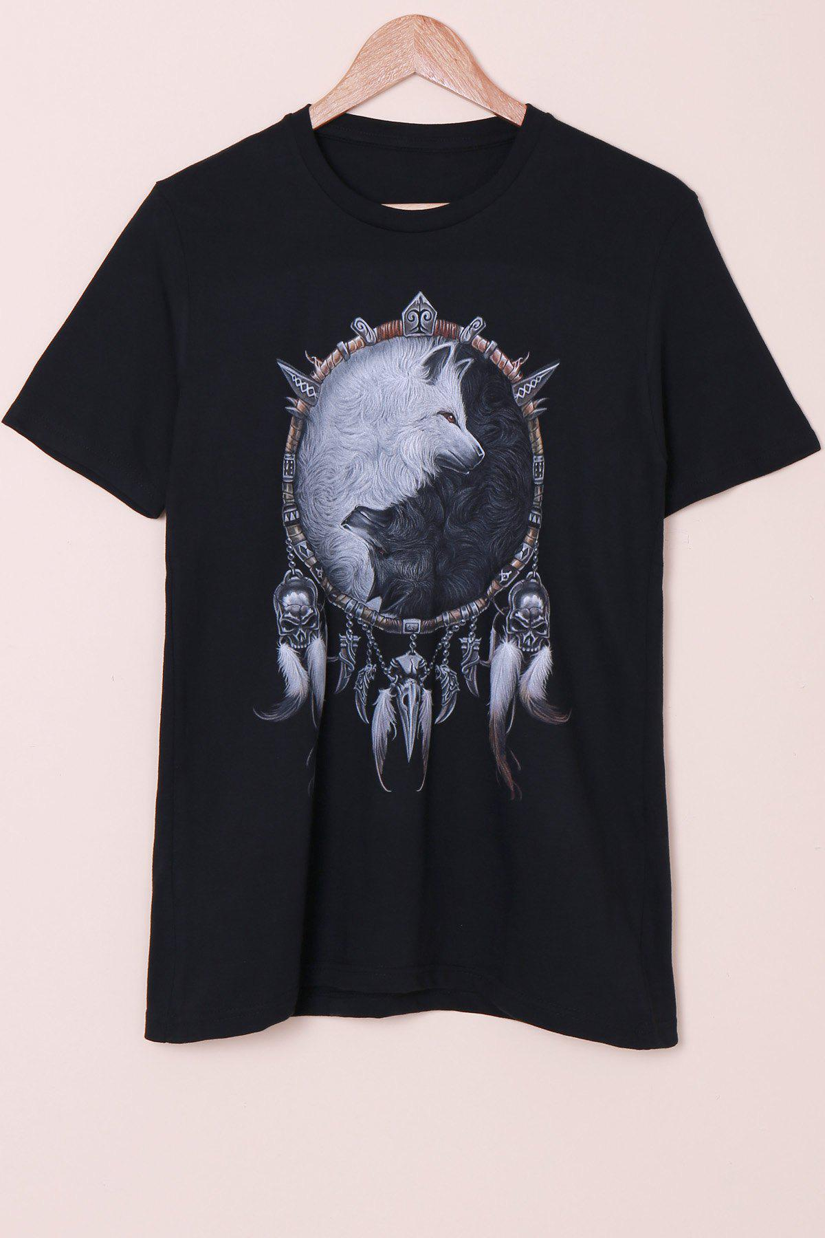Special Fox Print Round Neck Short Sleeves Men's 3D T-Shirt - BLACK L