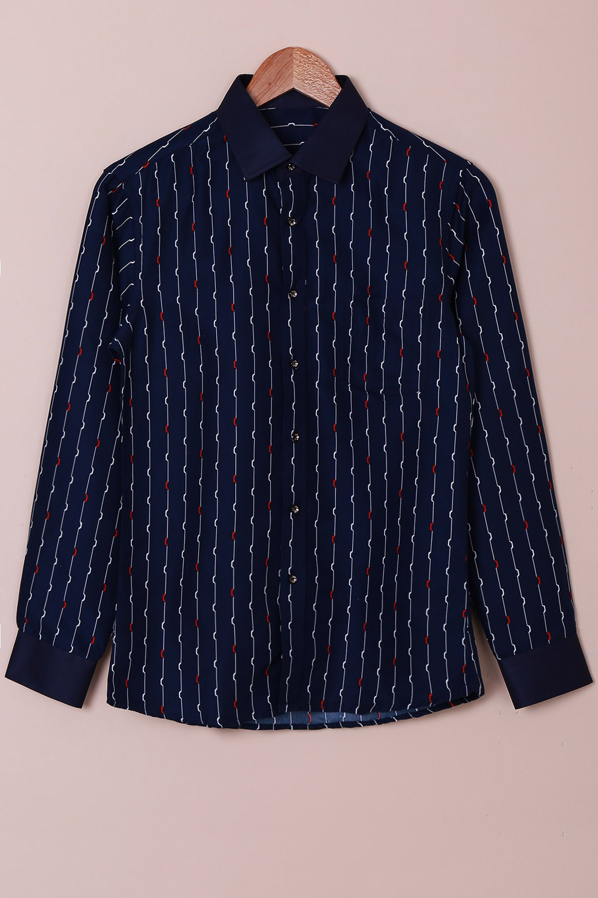 Turn-Down Collar Color Block Waviness Stripe Print Long Sleeve Men's Shirt - PURPLISH BLUE S