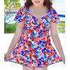 Trendy Push-Up Plus Size Colorful Printed  Women's Swimsuit - COLORFUL 2XL
