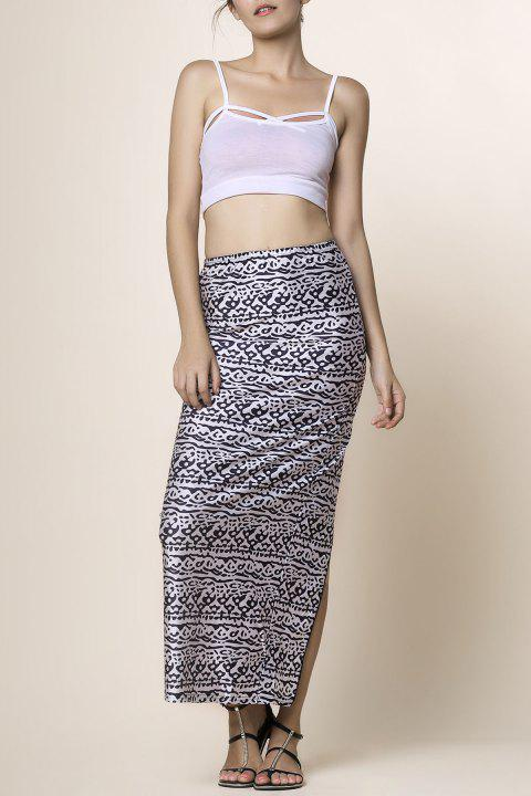 Cami Top with Printed High Waisted Skirt