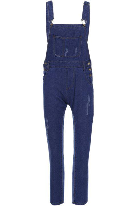 Casual Style Solid Color Straight Leg Denim Overalls For Women - BLUE S