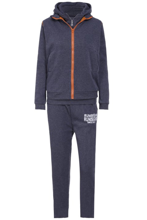 Active Graphic Hoodie and Flocking Waistcoat and Pants - DEEP GRAY L