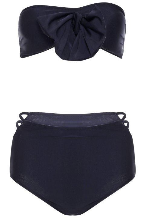 Sexy Strapless Bowknot Embellished Hollow Out Bikini Set For Women - BLACK S
