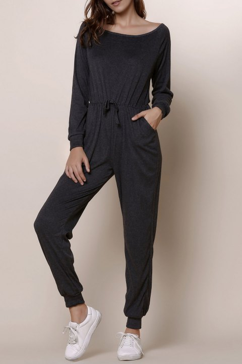 Casual Gray Skew Collar Self-Tie Long Sleeve Jumpsuit For Women - GRAY M