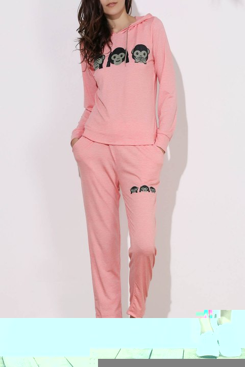 Active Emoji Printed Hooded Pullover Hoodie and Elastic Waist Pants Twinset For Women - PINK M