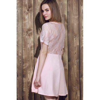 Stylish Scoop Neck Lace Spliced Plus Size Short Sleeve Women's Dress - PINK PINK