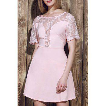 Stylish Scoop Neck Lace Spliced Plus Size Short Sleeve Women's Dress