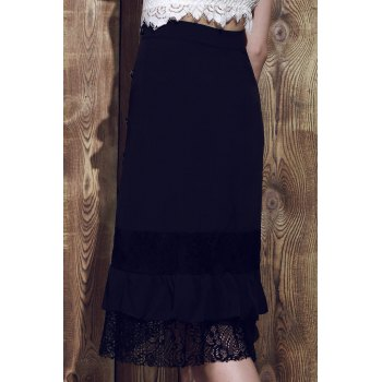 Punk Style Riveted Black Laced Skirt For Women - S S