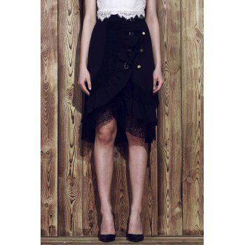 Punk Style Riveted Black Laced Skirt For Women - XL XL