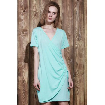 Sexy Plunging Neck Short Sleeve Plus Size Solid Color Women's Wrap Dress - LAKE BLUE 3XL