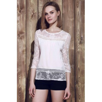 Trendy Scoop Neck 3/4 Sleeve Lace Spliced See-Through Blouse - WHITE XL