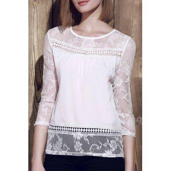 Trendy Scoop Neck 3 4 Sleeve Lace Spliced See Through Blouse