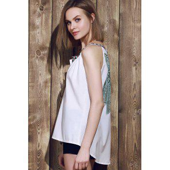 Sexy Sleeveless V-Neck Spliced Hollow Out Women's Tank Top - M M