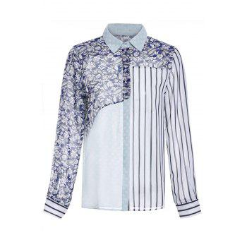 Chic Long Sleeve Shirt Collar Spliced Geometric Print Women's Shirt