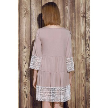 Casual 3/4 Sleeve U-Neck Loose-Fitting Lace Splicing Women's Dress - KHAKI KHAKI