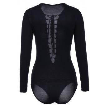 Sexy Women's Plunging Neck Black Long Sleeve Bodysuit