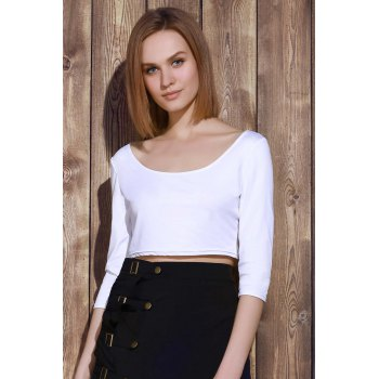Sexy 3/4 Sleeve Scoop Neck Solid Color Women's Crop Top - ONE SIZE(FIT SIZE XS TO M) ONE SIZE(FIT SIZE XS TO M)