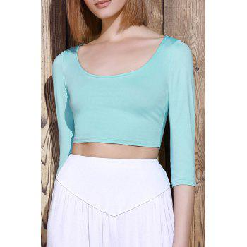 Sexy 3/4 Sleeve Scoop Neck Solid Color Women's Crop Top - GREEN ONE SIZE(FIT SIZE XS TO M)