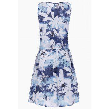 Stylish Women's Scoop Neck Sleeveless Floral Print Top and Linen Skirt Suit - BLUE M