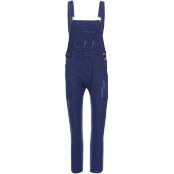 Casual Style Solid Color Straight Leg Denim Overalls For Women - BLUE BLUE