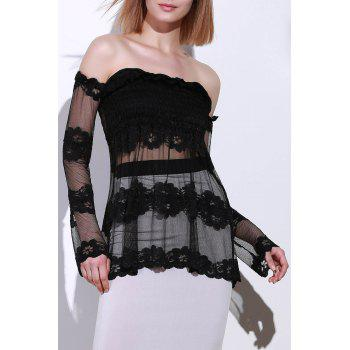 Trendy See-Through Off-The-Shoulder Long Sleeve Women's Lace Blouse - BLACK L