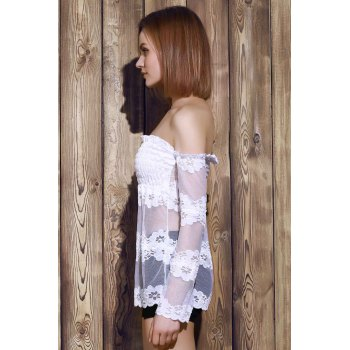 Sexy Off-The-épaule See-Through Chemisier dentelle de manches longues femmes - Blanc XL