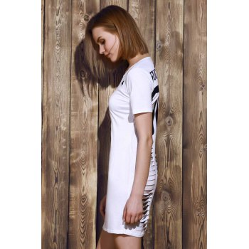 Round Neck Letter Pattern Hollow Out Short Sleeve Women's Dress - WHITE L