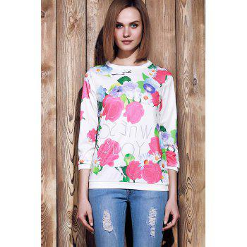 Endearing 3/4 Sleeve Various Colorful Floral Printed Sweatshirt For Women - XL XL