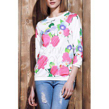 Endearing 3/4 Sleeve Various Colorful Floral Printed Sweatshirt For Women