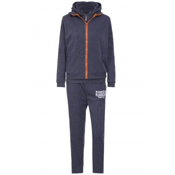 Active Graphic Hoodie and Flocking Waistcoat and Pants - DEEP GRAY M