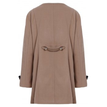 Women's Chic Turn-Down Collar Long Sleeve Double-Breasted Woolen Coat - CAMEL M