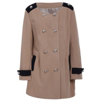 Women's Chic Turn-Down Collar Long Sleeve Double-Breasted Woolen Coat