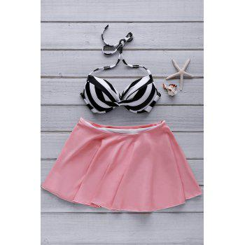Sexy Halter High-Waisted Stripe Women's Skirtini