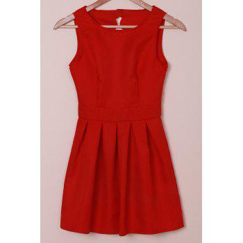 Elegant Round Collar Sleeveless Scalloped Hollow Out Red Women's Dress