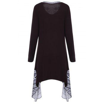 Retro Style Printed V-Neck Long Sleeve Irregular T-Shirt Dress For Women - DEEP BROWN XL