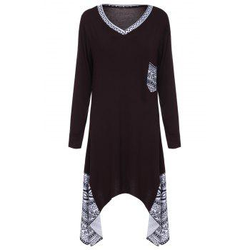 Retro Style Printed V-Neck Long Sleeve Irregular T-Shirt Dress For Women