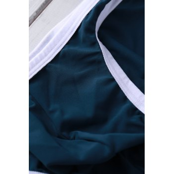 Sexy Color Block U Convex Pouch Design Men's Bikini Swimming Trunks - BLACKISH GREEN BLACKISH GREEN
