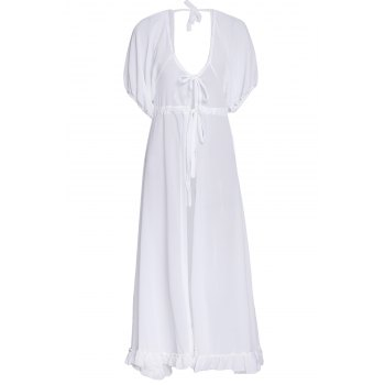 Women's Charming Lace Up White Chiffon Cover-Up