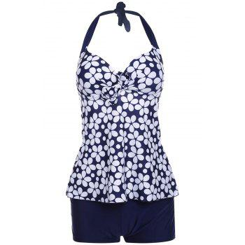 Sexy Halterneck Floral Print Two-Piece Swimsuit For Women