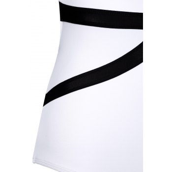Sexy Plunging Neck Sleeveless One-Piece Color Block Women's Swimwear - WHITE/BLACK WHITE/BLACK