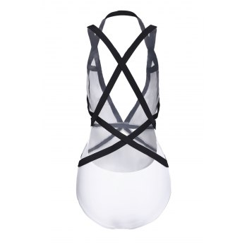 Sexy Plunging Neck Sleeveless One-Piece Color Block Women's Swimwear - WHITE/BLACK L