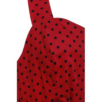 Vintage Style Halter Neck Sleeveless Polka Dot Self Tie Belt Backless Women's Dress - RED M