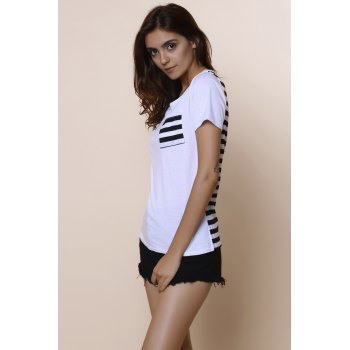 Casual Women's Scoop Neck Striped Short Sleeve Loose-Fitting T-Shirt - S S