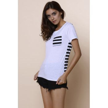 Casual Women's Scoop Neck Striped Short Sleeve Loose-Fitting T-Shirt - WHITE WHITE