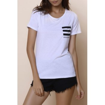 Casual Women's Scoop Neck Striped Short Sleeve Loose-Fitting T-Shirt - WHITE L