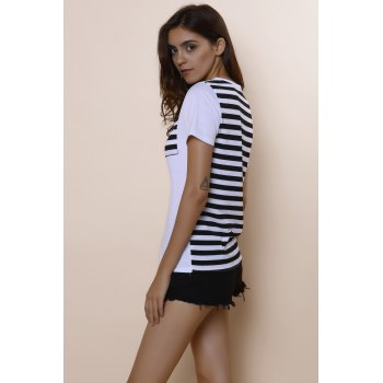 Casual Women's Scoop Neck Striped Short Sleeve Loose-Fitting T-Shirt - L L
