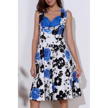 Floral Print Sweetheart Neck Sleeveless Ball Gown Dress For Women - BLUE S