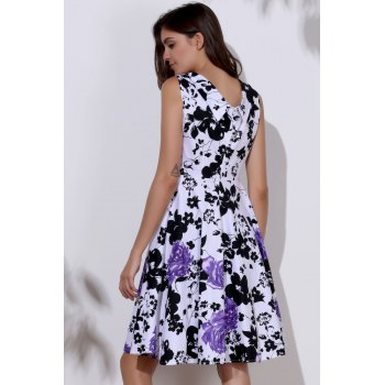 Floral Print Sweetheart Neck Sleeveless Ball Gown Dress For Women - S S